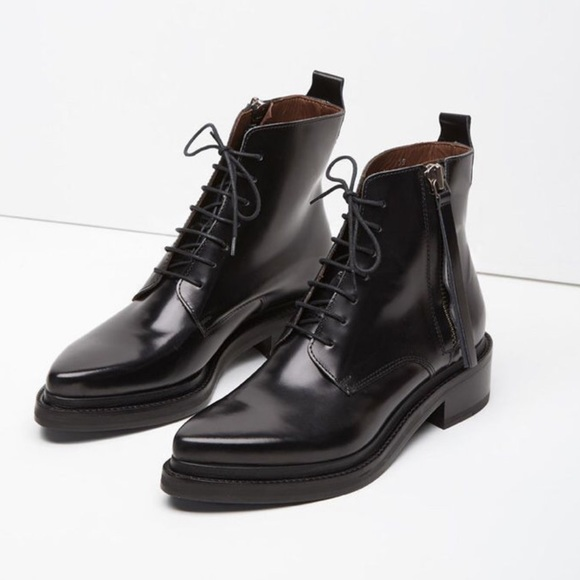 958cc23c58f Acne studios Linden black leather combat boots 37
